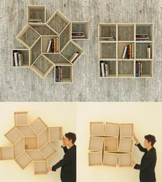 New Shapes Every Time- Squaring Movable Bookshelf by Sehoon Lee (video) - Home Decor Idea Creative Bookshelves, Bookshelf Design, Bookshelf Ideas, Bookshelf Decorating, Decorating Ideas, Wall Shelves, Shelving, Etagere Cube, Diy Home Decor
