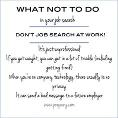 Job Search Tips : Here's why you should NOT job search at work #jobsearch #career #don'ts