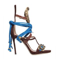 Samurai Sandal With Metal Inserts (3,685 MYR) ❤ liked on Polyvore featuring shoes, sandals, marrone, strap high heel shoes, high heel shoes, strap high heel sandals, high heel sandals and strappy sandals