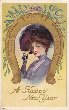 Good Luck Happy New Year Edwardian Woman by EphemeraObscura, $11.50