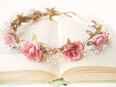 Flower crown with pink roses and baby's breath by Noon on the Moon | #flowercrown #hair