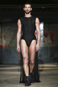 I just love that this guy was masculine enough to wear this! gladiator-esk? Serkan Cura Couture Spring Summer 2015 Paris