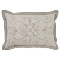 "Wrapped in crisp cotton and linen, this lovely pillow features beaded embroidery and feather-down fill.   Product: PillowConstruction Material: Cotton and linen cover and down-feather fillColor: NaturalFeatures:  Beaded and embroidered detailsInsert included Dimensions: 14"" x 20"""