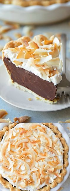 This Chocolate Coconut Cream Pie from Life Made Simple is absolutely dreamy. A flaky crust is topped with a rich and dense chocolate coconut filling and a sweet coconut cream topping!