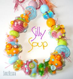 Handmade lampwork bead set SILLY SOUP made in by suuzdesign, via Etsy.