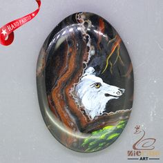 Unique Hand Painted wolf Pendant Natural Gemstone With Silver Bail  ZL807137 #ZL #Pendant