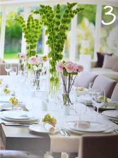 simple tall flower arrangements | just love the pink and green contrast between these Bells of Ireland ...