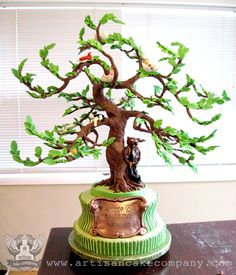 Historic Bruce Tree Cake _ This client wanted a great cake to celebrate her hubby's and incorporate all his favorite things. The birthday boy is a big Beavers fan so of course we had to have Benny the Beaver on there :) Birthday Tree, 40th Birthday Cakes, Family Tree Cakes, Fondant Tree, Artisan Cake Company, Chocolate Showpiece, Chocolate Tree, Cupcake Cakes, Cupcakes