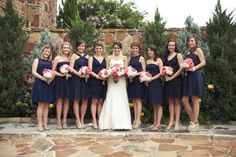 mismatched navy bridesmaid dresses // Photography by yellowskinnyphotos.net, Floral Design by scfevents.com