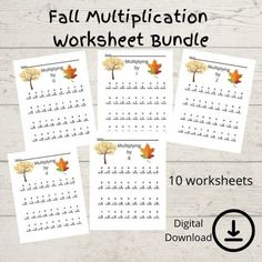 Homeschool Printables  Fall Theme Multiplication Worksheet | Etsy