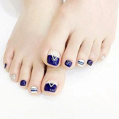 Fashion French Blue Nails Geometric Triangle pattern false nails for toe pure color fake nails with glue short nail tips Pedicure Designs, Toe Nail Designs, Art Designs, Blue Nails, My Nails, Toe Nail Art, Acrylic Nails, Gel Nail, Short Fake Nails