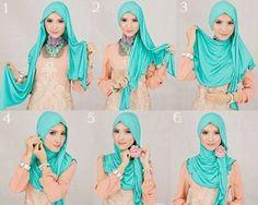 Segi Empat Hijab Tutorial Full of Fashion - HijabiWorld Islamic Fashion, Muslim Fashion, Hijab Fashion, How To Wear Hijab, How To Wear Scarves, Hijab Style Tutorial, Hijab Stile, Simple Hijab, Muslim Hijab