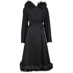 Preowned Alexander Mcqueen Black Wool Coat With Faux Fur ($1,550) ❤ liked on Polyvore featuring outerwear, coats, black, wool coat, vintage wool coat, alexander mcqueen coat, woolen coat and imitation fur coats