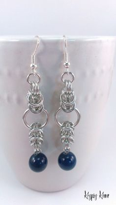 Box Weave Chainmaille Earrings with Blue Mtn Jade by GypsyGrove