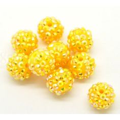 Wholesale Acrylic Rhinestone Bubblegum Beads Ball Yellow AB Color About Dia, Hole: Approx 20 PCs from China Supplier Acrylic Beads, Bubble Gum, Abs, Stud Earrings, Yellow, Resin, Handmade, China, Color