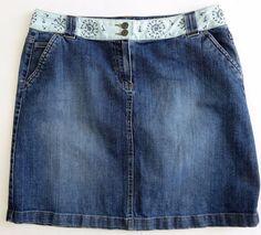 Talbots Stretch Denim Jean Skirt Embroidered Waistband Blue 14 #Talbots #StraightPencil