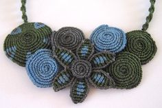 Macrame necklace with blue, green and grey flower and circles - sold, made to order.. $40.00, via Etsy.