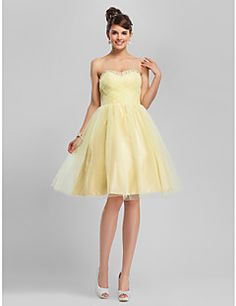 TS Couture Cocktail Party Homecoming Sweet 16 Dress - Vintage Inspired Short A-line Ball Gown Strapless Sweetheart Knee-length Tulle with
