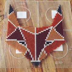 Fox hama perler beads by dassommersprossenmaedchen Pixel Beads, Fuse Beads, Pearler Bead Patterns, Perler Patterns, Diy Perler Beads, Pearler Beads, Beaded Cross Stitch, Cross Stitch Patterns, Minecraft Pattern