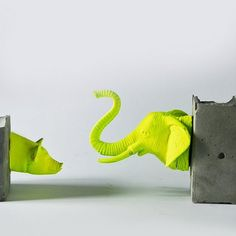 Learn how to make these animal bookends made from concrete and plastic toys