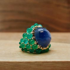 Fulco di Verdura's love of combining blue and green influenced our new mosaic ring, made with cabochon sapphire and Russian emerald