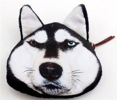 Women Handbag New Charm Lovely printing Siberian husky Coins Purse Wallet Love Pet, I Love Dogs, 3d Dog, New Charmed, Alaskan Malamute, Coin Purse Wallet, Face Design, Animal Faces, Akita
