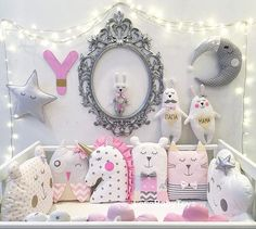 I love the frame and lights surrounding the crib and the cute plushies Girl Nursery, Girl Room, Nursery Decor, Baby Crafts, Diy And Crafts, Crafts For Kids, Sewing For Kids, Baby Sewing, Baby Pillows