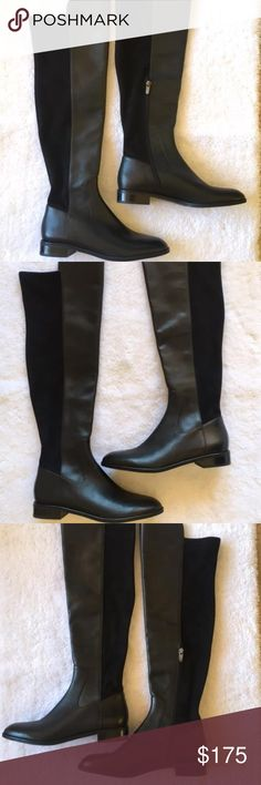 """New Via Spiga Itala Tall Over the Knee Black Boots Gorgeous Via Spiga two-tone black leather boots. Leather in front and stretchy suede in back.  Textile lining and rubber sole. Brand new. No box. Half side zip closure Almond toe 1"""" heel Imported Size: 8M Shaft: 21"""" Calf: 7"""" Ankle 4""""   These gorgeous boots retail for $485. Via Spiga Shoes Over the Knee Boots"""