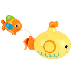 Bring splash of fin-tastic fun to tub time with the Babies'R'Us Wind-Up Bath Toy! This yellow submarine with a fish face offers loads of aquatic amusement for any little one. Simply pull the propeller out, wind up the periscope, and then push the propeller back in to watch it swim away! The coolest part? There's even an attached fishie friend that trails along behind for even more under-the-sea awesomeness. <br><br> The Babies R Us Wind Up Bath Toy - Submarine Fish…