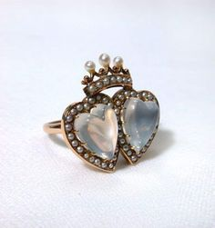 Antique Double Moonstone Heart Ring, circa 1880 – 1890.