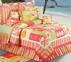 Beach Bedding, Beach Theme Bedding Sets, Comforters & Sheets: The Home Decorating Company Beach Theme Bedding, Beach Bedding Sets, Comforter Sets, Duvet, Quilt Bedding, Tropical Bedding, Beach Quilt, Tropical Home Decor, Tropical Interior