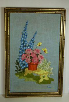 Wonderful Framed Vintage Crewel Embroidery by OldThingsMakeMusic