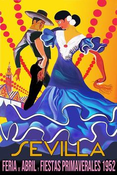 Sevilla Festival Poster 1952Feria de Abril,Fiestas Primaverales 1952Vintage 1952 advertising poster announcing the annual Seville April Fair which is held in the Andalusian capital in Spain every year.The Final Touch to your decorationOur posters create a highly decorative visual getaway in your home decor.Hang Sevilla Festival 1952 Poster and create a new window onto your favourite places and the most precious moments of your life.Poster SpecificationsThe frame is not included in the… Music Posters, Cool Posters, Beatles Band, Life Poster, Festival Posters, Advertising Poster, Seville, Precious Moments, Spain