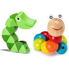 Weihnachten Kinder Spielzeug, VALUE MAKERS 2pcs Baby Kinder Holzspielzeug p�dagogischen Nette Finger Flexible Twisting Worm Lernspielzeug