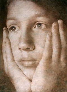 Artist: Michal Lukasiewicz, Poland {contemporary artist female head woman face portrait painting}