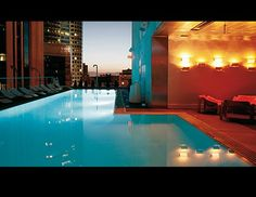 The rooftop pool at The Standard, is part of one of Los Angeles' most coveted nightlife hotspots. Situated on the rooftop of the 12-story hotel, the pool has panoramic views of the city. The turquoise heated pool stands out sharply against the deep red Astroturf of the surrounding sundeck, where there are also bright red water-bed canopies for up to 10. (Designhotels.com)