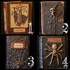 DIY Halloween Altered Books Tutorials.The numbers in the collage are from one of my favorite free fonts:A Lolita Scorned here.For more DIY altered books go here:halloweencrafts.tumblr.com/tagged/books Altered Bat Book Basic Tutorial from Seeing Things here. Goblin Altered Book Tutorial here. Spider Altered Book Tutorial here, Graphics here. See #3