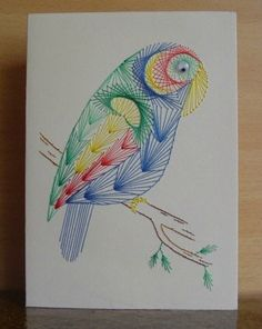 Latest Trend In Embroidery on Paper Ideas. Phenomenal Embroidery on Paper Ideas. Embroidery Cards, Learn Embroidery, Embroidery Patterns, Hand Embroidery, String Crafts, Paper Crafts, School Scrapbook Layouts, Art Carte, String Art Patterns