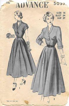 Advance 5057- 1940s Shirtwaist Dress Sewing Pattern, by GrandmaMadeWithLove