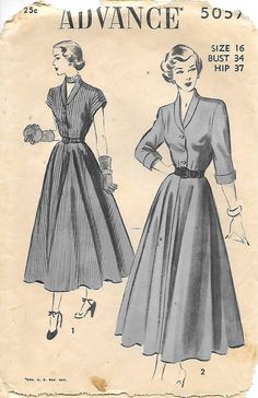 Advance 5057- 1940s Shirtwaist Dress Sewing Pattern, by GrandmaMadeWithLove                                                                                                                                                      Más