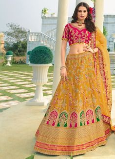 Buy Stone Work Mustard Silk Trendy A Line Lehenga Choli Online Banarasi Lehenga, Lehenga Saree, Lehenga Choli Online, Bridal Lehenga Choli, Rajputi Dress, Celebrity Gowns, Choli Designs, Satin Color, Embroidered Silk