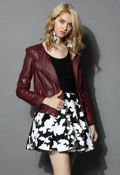 Chicwish Faux Leather Biker Jacket in Wine - Long Sleeve - Tops - Retro, Indie and Unique Fashion