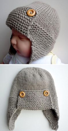 Baby Aviator Hat - Knitting Pattern - Knitting patterns, knitting designs, knitting for beginners. Baby Hat Knitting Patterns Free, Baby Hat Patterns, Baby Hats Knitting, Knitting For Kids, Knitted Hats, Knitted Baby Clothes, Diy Crafts Knitting, Knitting Projects, Sewing Projects