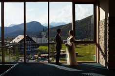 Bohinj Park ECO Hotel, Slovenia: bride and groom in front of panoramic view #wedding #destinationwedding