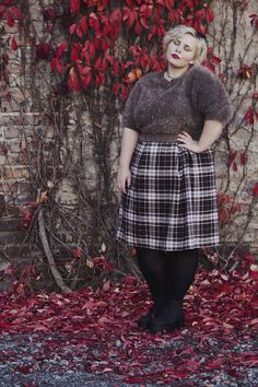 Cosy autumn look. Browns checked skirt, fluffy brown jumper, and the obligatory black tights.