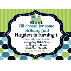 Train Printable Birthday Invitation DIY blue navy teal lime green