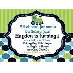 Train Printable Birthday Invitation DIY blue navy teal lime green