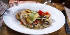 Italialainen mozzarellapaistos kalkkunan sisäfileeleikkeestä. Hyvä ruoka, parempi mieli.