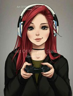 People's Portraits - Gamer by - Zeichnung - Anime Cool Anime Girl, Anime Art Girl, Manga Girl, Awesome Anime, Digital Art Anime, Digital Art Girl, Manga Kawaii, Kawaii Anime Girl, Girl Cartoon