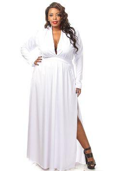 Plus Size Solid Double Slit Maxi Dress